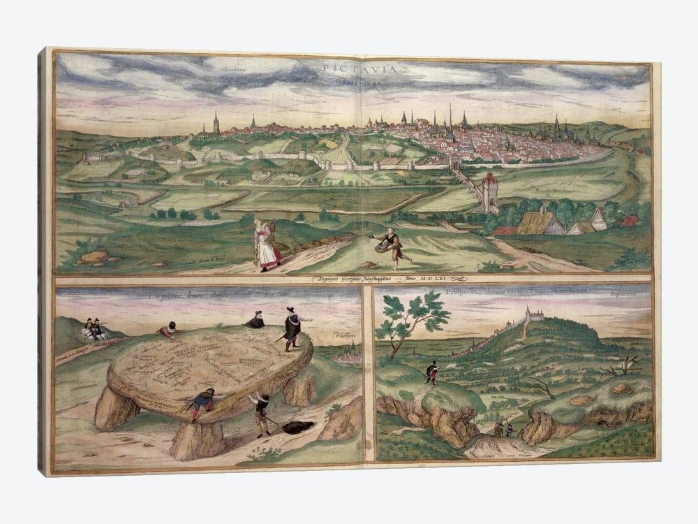 Map of Poitiers, from 'Civitates Orbis Terrarum' by Georg Braun  by Joris Hoefnagel 1-piece Canvas Print