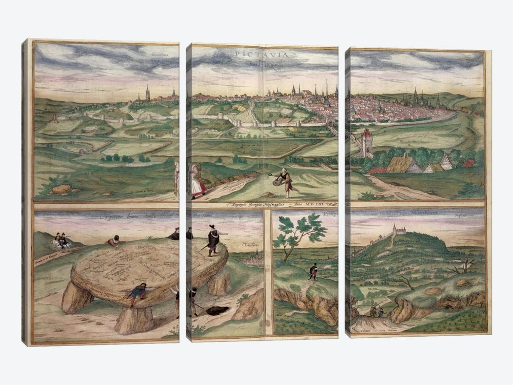Map of Poitiers, from 'Civitates Orbis Terrarum' by Georg Braun  by Joris Hoefnagel 3-piece Art Print
