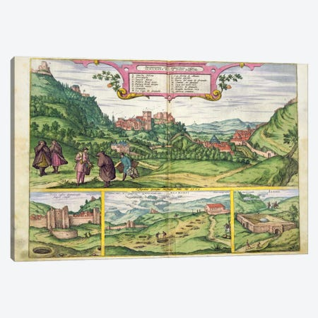 View of the Alhambra, from 'Civitates Orbis Terrarum' by Georg Braun  Canvas Print #BMN1643} by Joris Hoefnagel Canvas Art