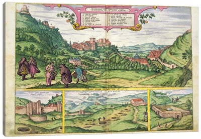 View of the Alhambra, from 'Civitates Orbis Terrarum' by Georg Braun Canvas Art Print