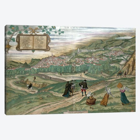 Map of Granada, from 'Civitates Orbis Terrarum', Volume I number 4, by Georg Braun  Canvas Print #BMN1644} by Joris Hoefnagel Canvas Art Print