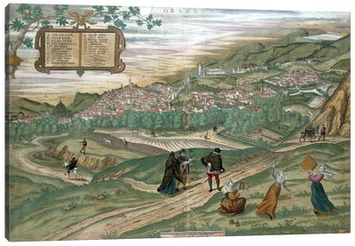 Map of Granada, from 'Civitates Orbis Terrarum', Volume I number 4, by Georg Braun  Canvas Art Print