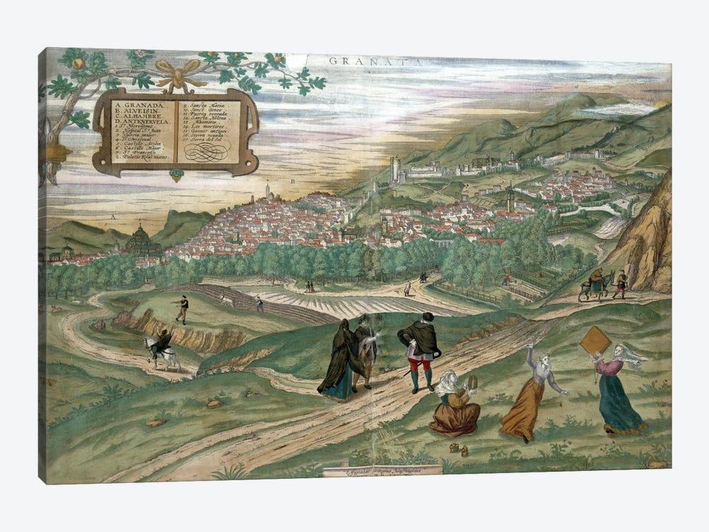 Map of Granada, from 'Civitates Orbis Terrarum', Volume I number 4, by Georg Braun  by Joris Hoefnagel 1-piece Art Print