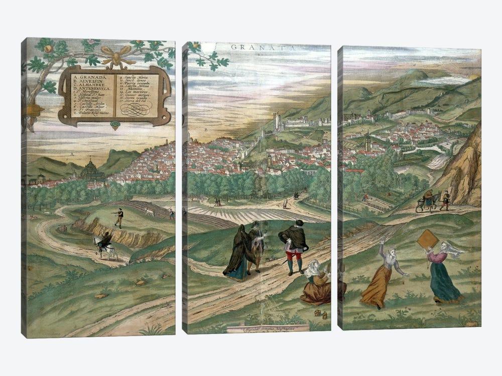 Map of Granada, from 'Civitates Orbis Terrarum', Volume I number 4, by Georg Braun  by Joris Hoefnagel 3-piece Canvas Print