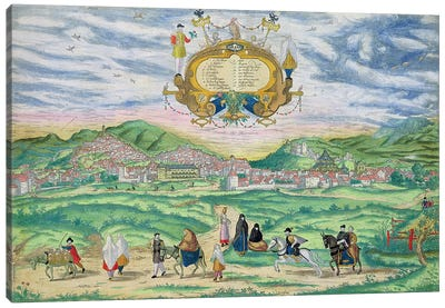 Map of Granada, from 'Civitates Orbis Terrarum' by Georg Braun  Canvas Art Print