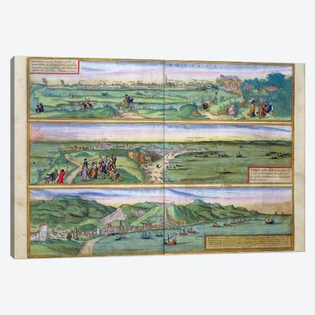 Map of Seville, Cadiz, and Malaga, from 'Civitates Orbis Terrarum' by Georg Braun  Canvas Print #BMN1646} by Joris Hoefnagel Art Print
