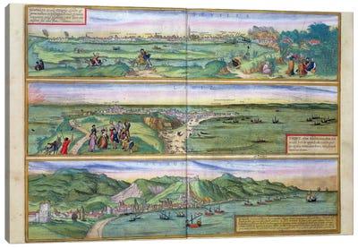 Map of Seville, Cadiz, and Malaga, from 'Civitates Orbis Terrarum' by Georg Braun  Canvas Art Print