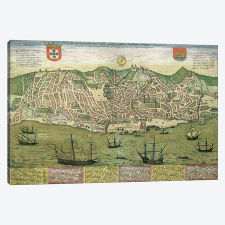 Map of Lisbon, from 'Civitates Orbis Terrarum' by Georg Braun  Canvas Print #BMN1649} by Joris Hoefnagel Canvas Wall Art
