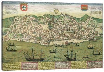 Map of Lisbon, from 'Civitates Orbis Terrarum' by Georg Braun Canvas Art Print
