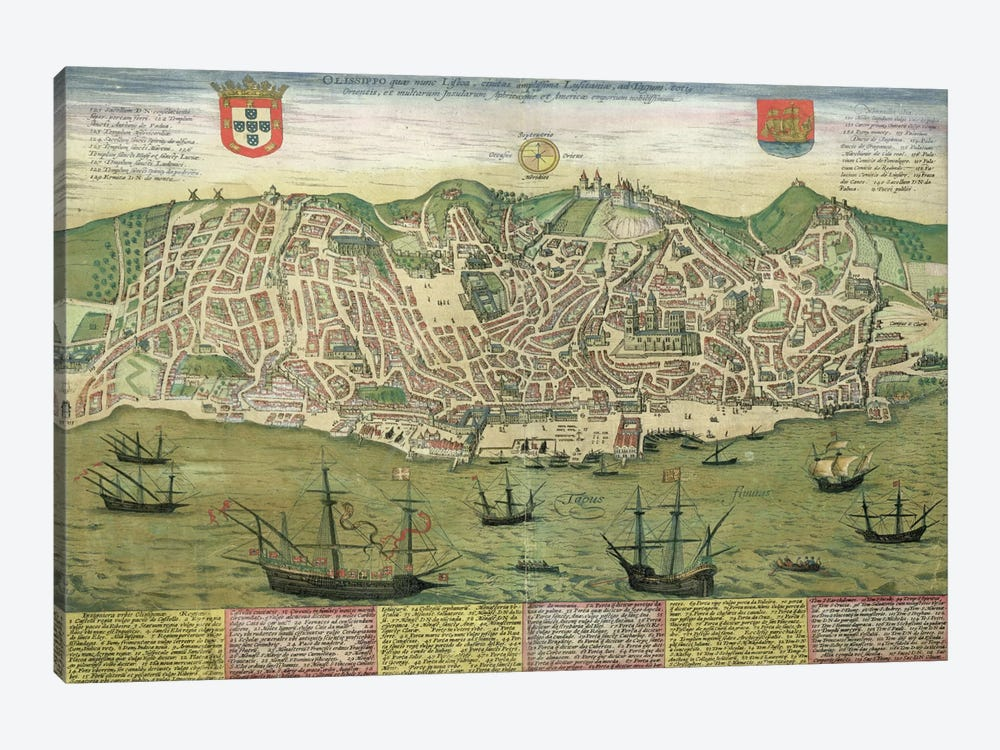 Map of Lisbon, from 'Civitates Orbis Terrarum' by Georg Braun  by Joris Hoefnagel 1-piece Canvas Artwork