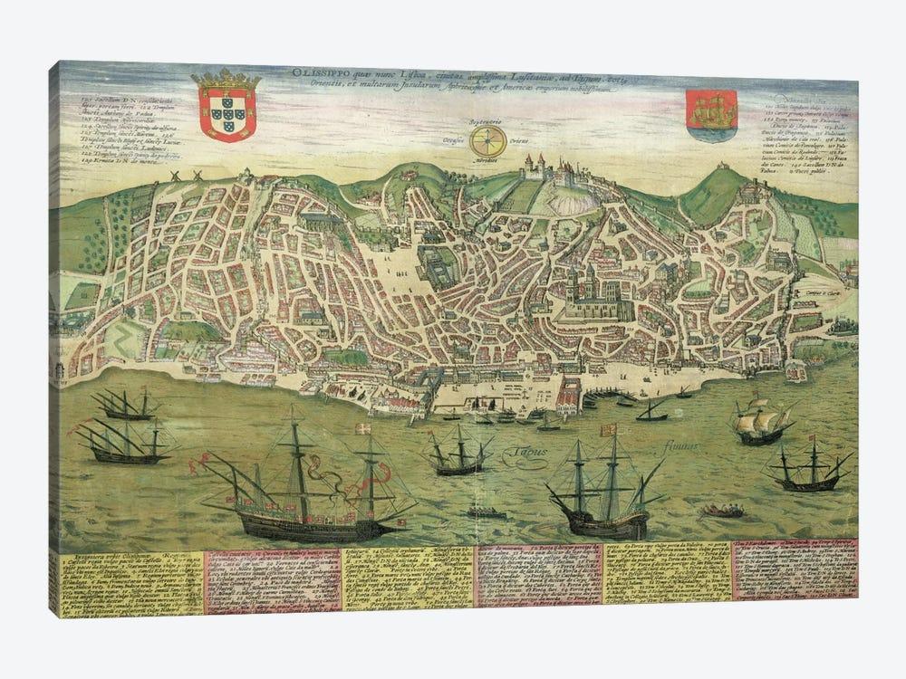Map of Lisbon, from 'Civitates Orbis Terrarum' by Georg Braun  by Joris Hoefnagel 1-piece Canvas Artwork