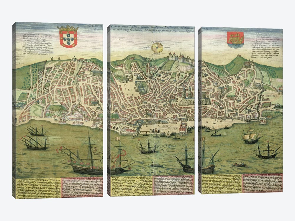 Map of Lisbon, from 'Civitates Orbis Terrarum' by Georg Braun  by Joris Hoefnagel 3-piece Canvas Artwork