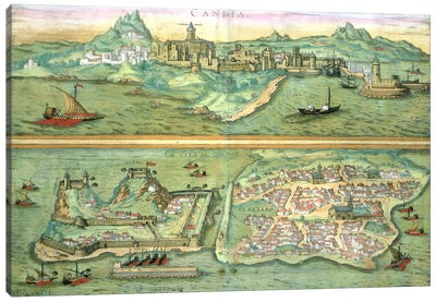 Map of Candia and Corfu, from 'Civitates Orbis Terrarum' by Georg Braun Canvas Art Print