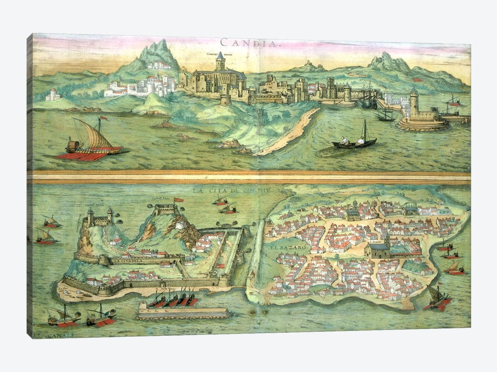 Map of Candia and Corfu, from 'Civitates Orbis Terrarum' by Georg Braun by Joris Hoefnagel 1-piece Canvas Art