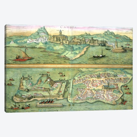 Map of Candia and Corfu, from 'Civitates Orbis Terrarum' by Georg Braun  Canvas Print #BMN1650} by Joris Hoefnagel Canvas Print