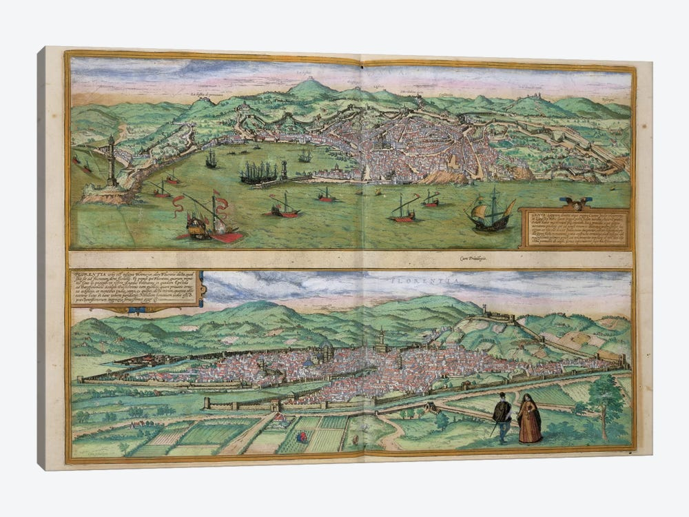 Map of Genoa and Florence, from 'Civitates Orbis Terrarum' by Georg Braun  by Joris Hoefnagel 1-piece Canvas Print