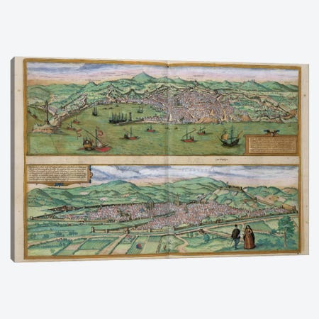Map of Genoa and Florence, from 'Civitates Orbis Terrarum' by Georg Braun  Canvas Print #BMN1653} by Joris Hoefnagel Canvas Print