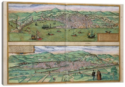 Map of Genoa and Florence, from 'Civitates Orbis Terrarum' by Georg Braun  Canvas Art Print