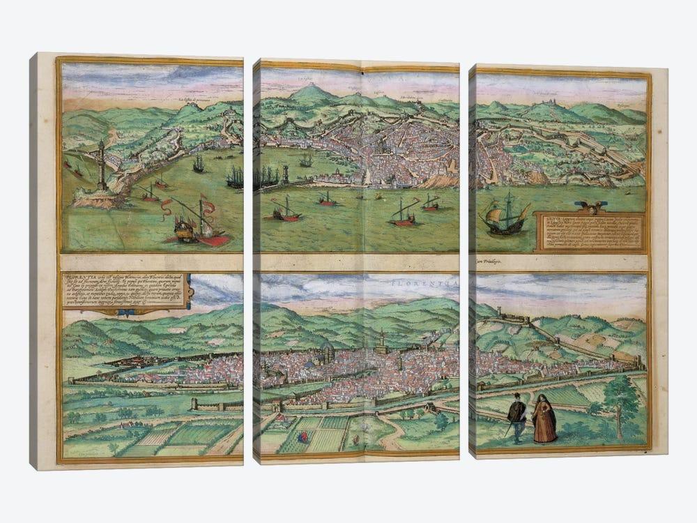 Map of Genoa and Florence, from 'Civitates Orbis Terrarum' by Georg Braun  by Joris Hoefnagel 3-piece Art Print