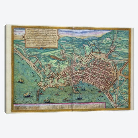 Map of Naples, from 'Civitates Orbis Terrarum' by Georg Braun  Canvas Print #BMN1657} by Joris Hoefnagel Canvas Artwork
