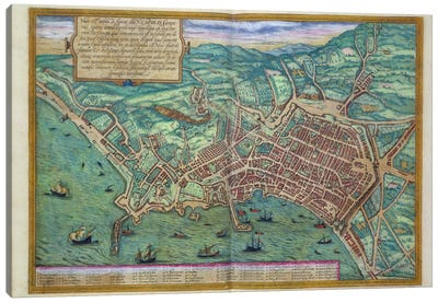 Map of Naples, from 'Civitates Orbis Terrarum' by Georg Braun Canvas Art Print