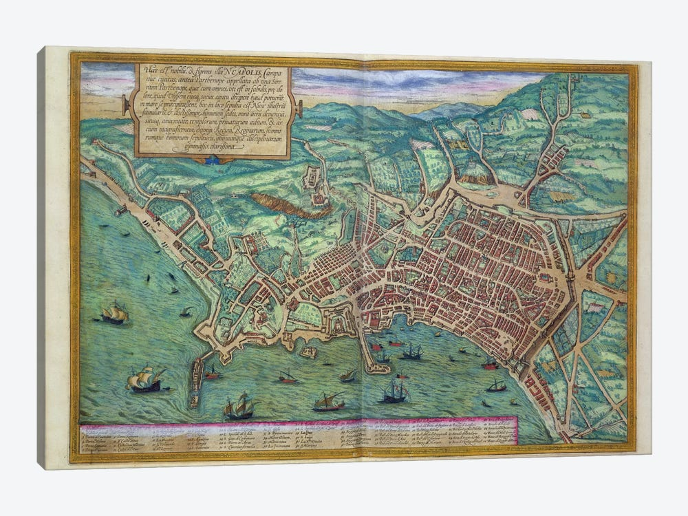 Map of Naples, from 'Civitates Orbis Terrarum' by Georg Braun  by Joris Hoefnagel 1-piece Art Print