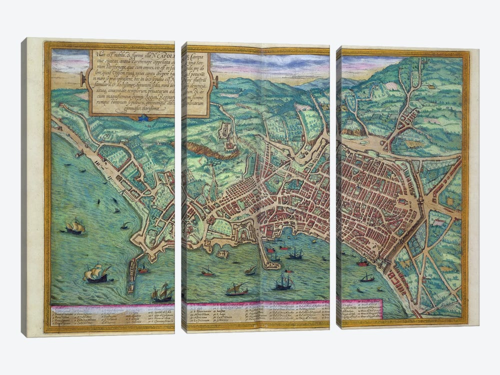 Map of Naples, from 'Civitates Orbis Terrarum' by Georg Braun  by Joris Hoefnagel 3-piece Canvas Print