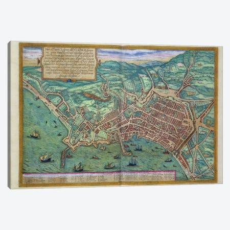 Map of Naples, from 'Civitates Orbis Terrarum' by Georg Braun  Canvas Print #BMN1657} by Joris Hoefnagel Canvas Artwork