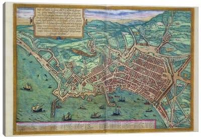 Map of Naples, from 'Civitates Orbis Terrarum' by Georg Braun  Canvas Art Print