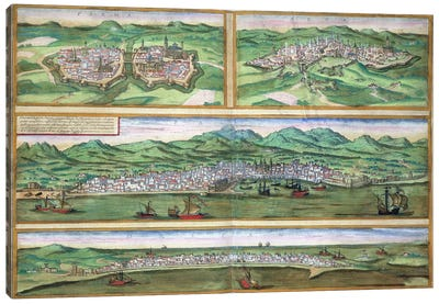 Map of Parma, Siena, Palermo, and Drepanum, from 'Civitates Orbis Terrarum' by Georg Braun Canvas Art Print