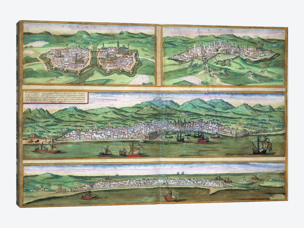 Map of Parma, Siena, Palermo, and Drepanum, from 'Civitates Orbis Terrarum' by Georg Braun by Joris Hoefnagel 1-piece Canvas Art