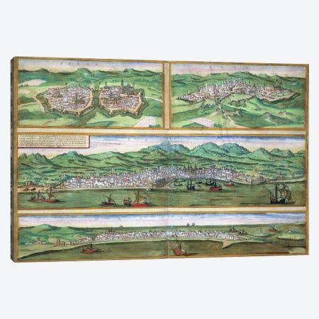 Map of Parma, Siena, Palermo, and Drepanum, from 'Civitates Orbis Terrarum' by Georg Braun  Canvas Print #BMN1658} by Joris Hoefnagel Canvas Art Print