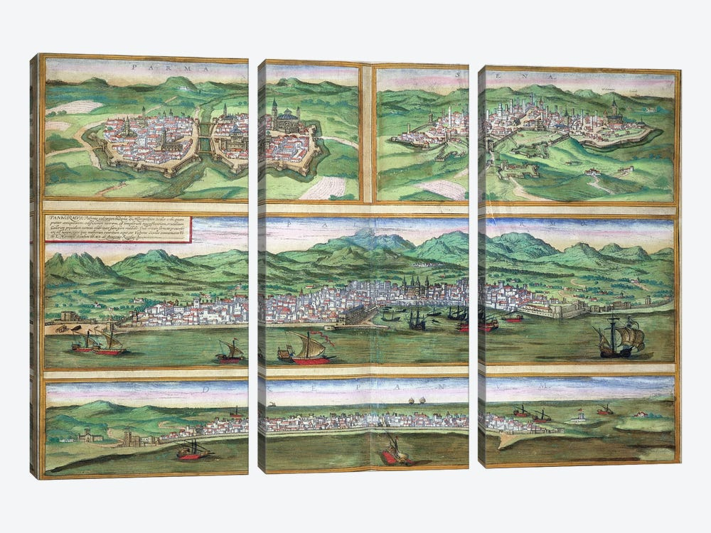 Map of Parma, Siena, Palermo, and Drepanum, from 'Civitates Orbis Terrarum' by Georg Braun  by Joris Hoefnagel 3-piece Canvas Artwork