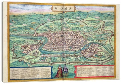 Map of Rome, from 'Civitates Orbis Terrarum' by Georg Braun Canvas Art Print