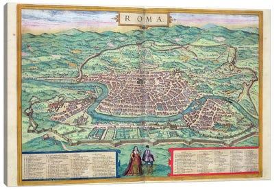 Map of Rome, from 'Civitates Orbis Terrarum' by Georg Braun  Canvas Print #BMN1659