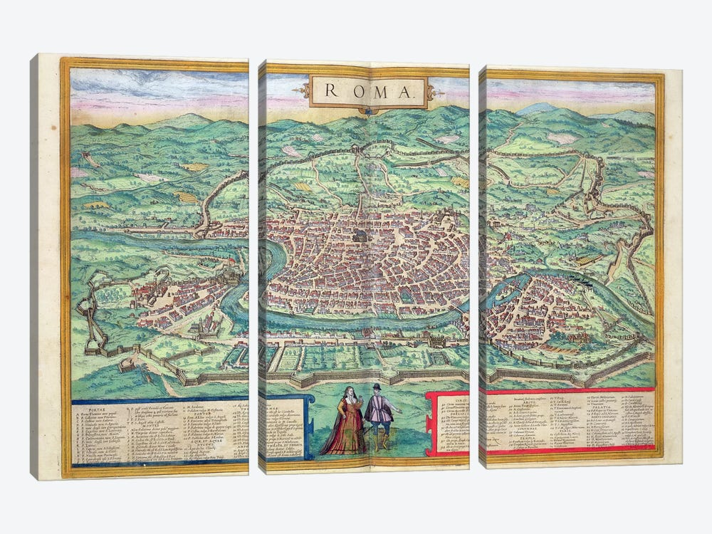 Map of Rome, from 'Civitates Orbis Terrarum' by Georg Braun 3-piece Canvas Print