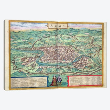 Map of Rome, from 'Civitates Orbis Terrarum' by Georg Braun  Canvas Print #BMN1659} by Joris Hoefnagel Art Print