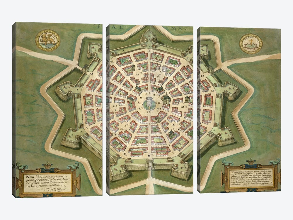 Map of Palma, from 'Civitates Orbis Terrarum' by Georg Braun  by Joris Hoefnagel 3-piece Art Print