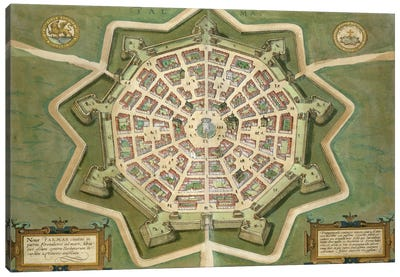 Map of Palma, from 'Civitates Orbis Terrarum' by Georg Braun  Canvas Art Print