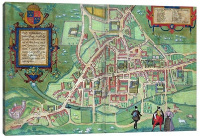Map of Cambridge, from 'Civitates Orbis Terrarum' by Georg Braun Canvas Art Print