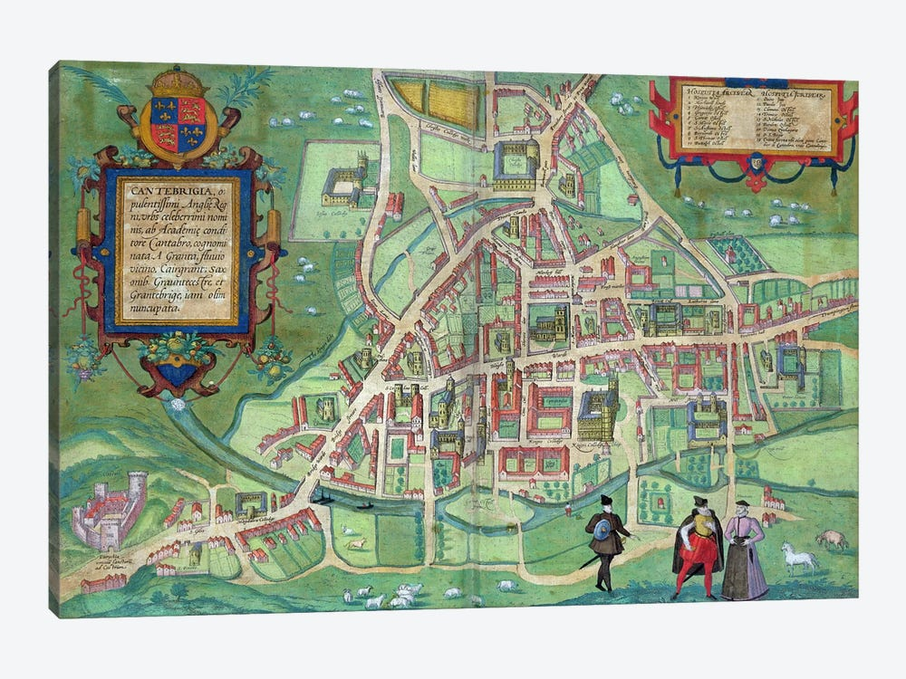 Map of Cambridge, from 'Civitates Orbis Terrarum' by Georg Braun by Joris Hoefnagel 1-piece Canvas Art