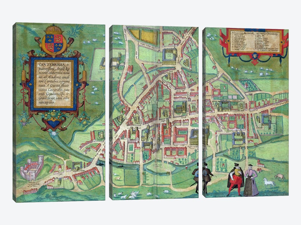 Map of Cambridge, from 'Civitates Orbis Terrarum' by Georg Braun by Joris Hoefnagel 3-piece Canvas Wall Art
