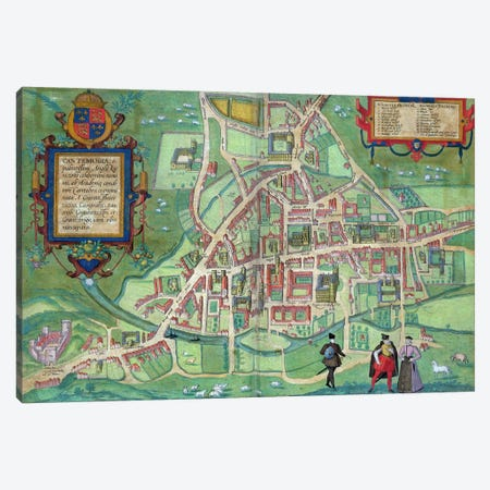 Map of Cambridge, from 'Civitates Orbis Terrarum' by Georg Braun  Canvas Print #BMN1663} by Joris Hoefnagel Canvas Art