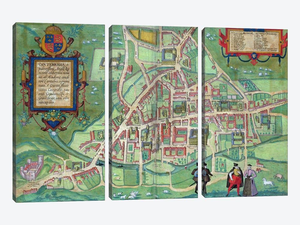 Map of Cambridge, from 'Civitates Orbis Terrarum' by Georg Braun  by Joris Hoefnagel 3-piece Canvas Wall Art