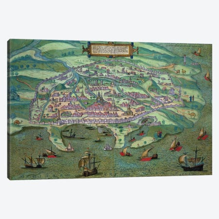 Map of Alexandria, from 'Civitates Orbis Terrarum' by Georg Braun  Canvas Print #BMN1665} by Joris Hoefnagel Art Print