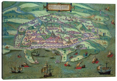 Map of Alexandria, from 'Civitates Orbis Terrarum' by Georg Braun Canvas Art Print
