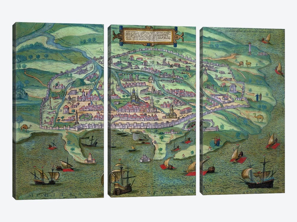 Map of Alexandria, from 'Civitates Orbis Terrarum' by Georg Braun by Joris Hoefnagel 3-piece Canvas Wall Art