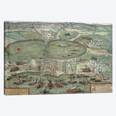 Map of Tunis, from 'Civitates Orbis Terrarum' by Georg Braun  Canvas Print #BMN1668} by Joris Hoefnagel Canvas Artwork
