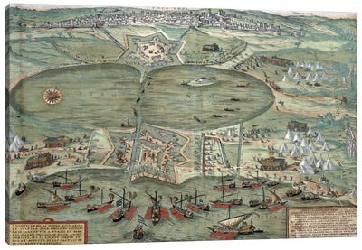 Map of Tunis, from 'Civitates Orbis Terrarum' by Georg Braun Canvas Art Print