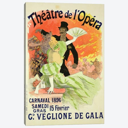 Carnival At Theatre de l'Opera Advertisement, 1896  Canvas Print #BMN1672} by Jules Cheret Canvas Print